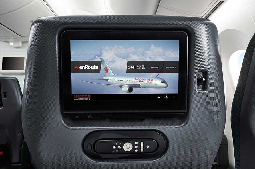 Entretenimento a bordo de alta qualidade. Premium Economy Air Canada. (Divulgação)