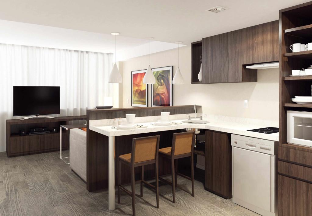 Studio Apartment, área da cozinha