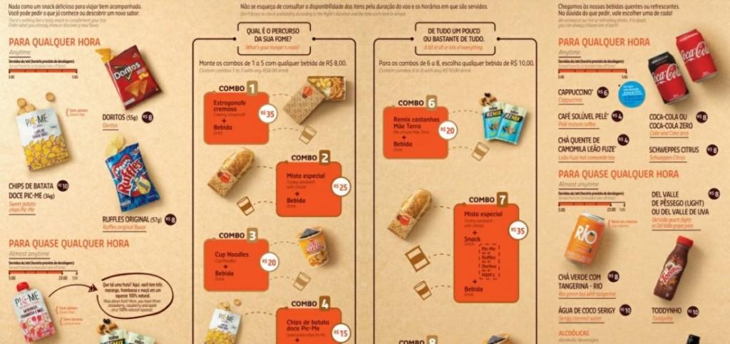 Novos produtos no cardápio doméstico da GOL. (Divulgação)